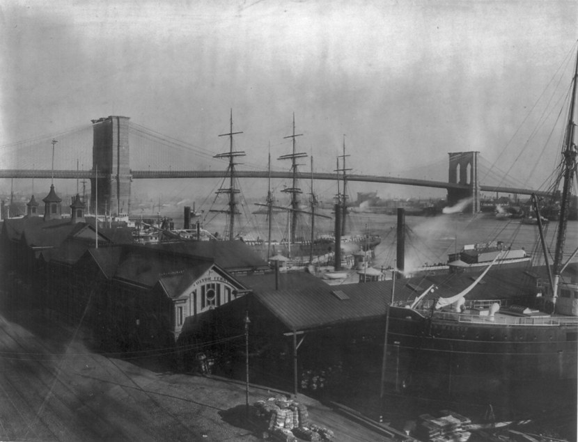 New York and Brooklyn Bridge 1889