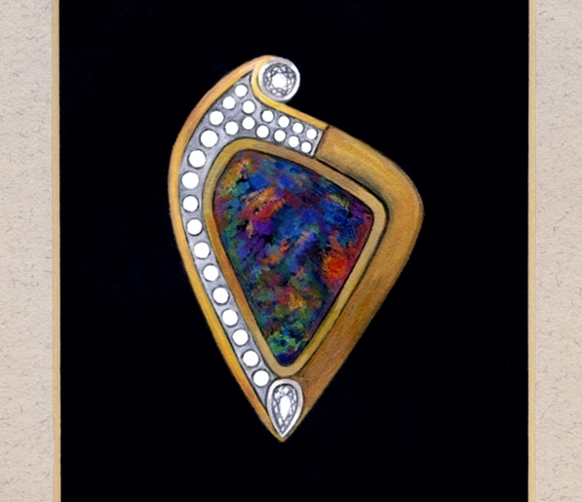 Black Opal Brooch Pendant