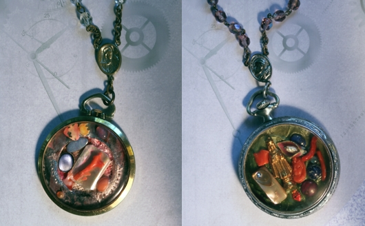 Pocket Watch Collage Necklaces