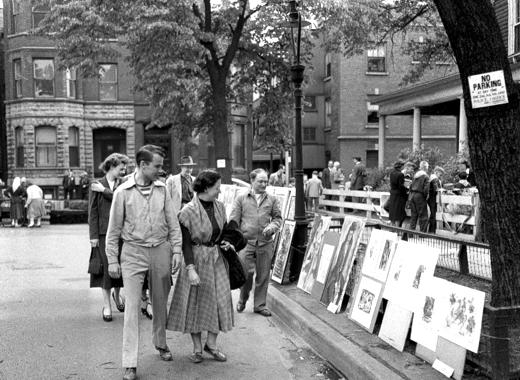 Browsing at Old Town Art Fair - June 3, 1950