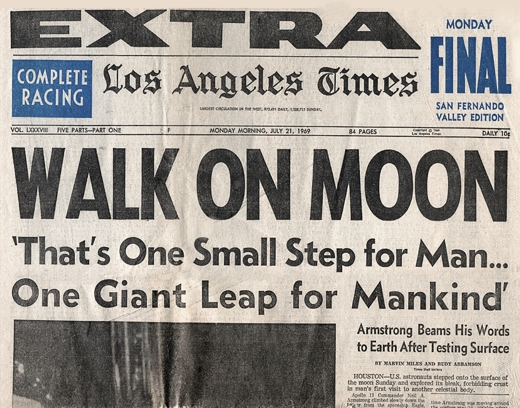 Walk on Moon July 20, 1969