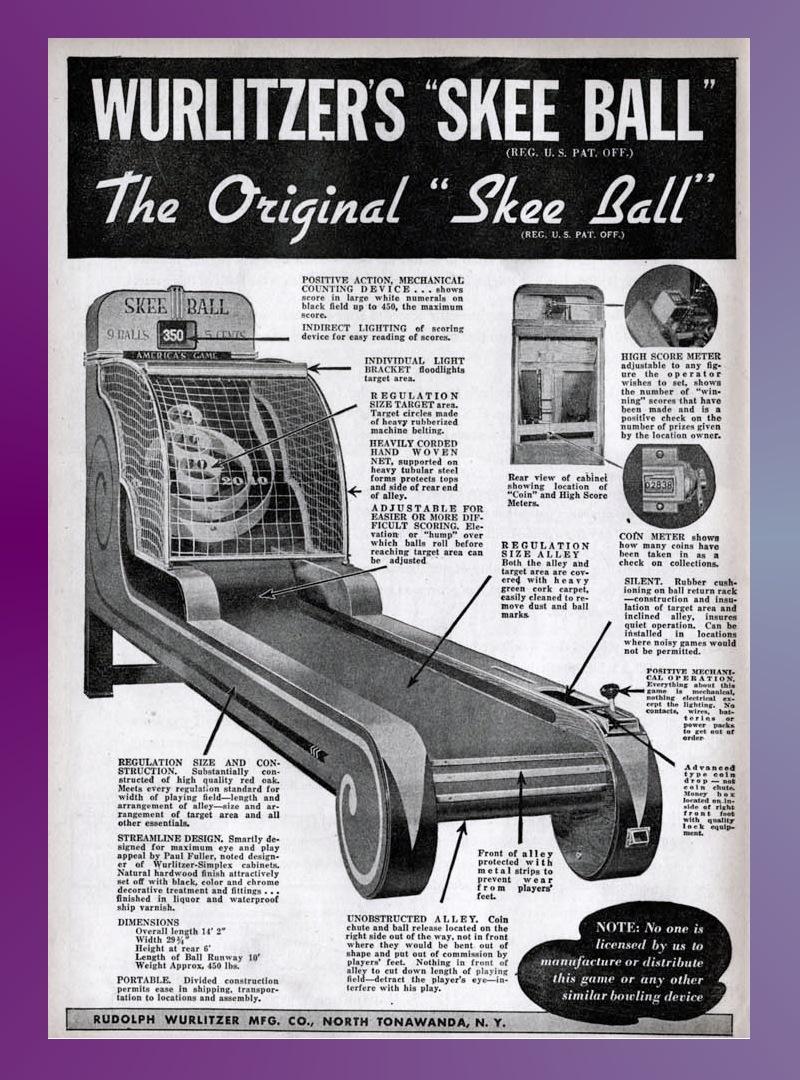 Wurlitzer Skee-Ball Ad 1940s